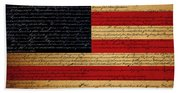 We The People - The Us Constitution With Flag - Square Bath Towel