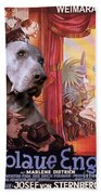 Weimaraner Art Canvas Print - Der Blaue Engel Movie Poster Bath Towel