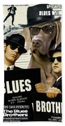 Weimaraner Art Canvas Print - The Blues Brothers Movie Poster Bath Towel