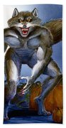 Werewolf With Pumpkins Bath Towel