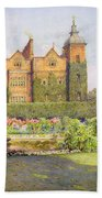 West Front And Gardens Of Hatfield Bath Towel