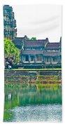 West Gallery From Across Moat In Angkor Wat In Angkor Wat Archeological Park Near Siem Reap-cambodia Bath Towel