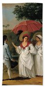 West Indian Landscape With Figures Promenading Before A Stream Bath Towel