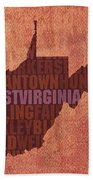 West Virginia State Word Art On Canvas Hand Towel by Design Turnpike