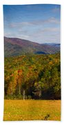 Western North Carolina Horses And Mountains Panorama Hand Towel