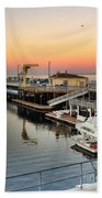 Wharf #2 In Monterey At Sunset Bath Towel