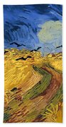 Wheat Field With Crows Bath Towel
