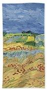 Wheatfield With Stormy Sky Bath Towel