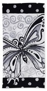 Whimsical Black And White Butterfly Original Painting Decorative Contemporary Art By Madart Studios Bath Towel