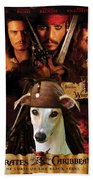 Whippet Art - Pirates Of The Caribbean The Curse Of The Black Pearl Movie Poster Bath Towel