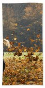 Whirling With Leaves Bath Towel