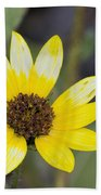 White And Yellow Sunflower Bath Towel