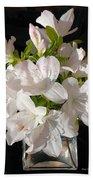 White Azalea Bouquet In Glass Vase Bath Towel