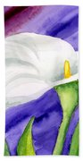 White Calla Lily Purple Mood Bath Towel