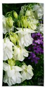 White Columbine With Purple Phlox Bath Towel