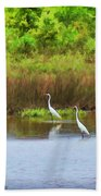 White Cranes Bath Towel