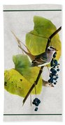 White Crowned Finch Vertical Bath Towel