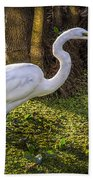 White Egret On The Hunt Bath Towel