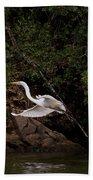 White Egret's Approach   #0615 Bath Towel