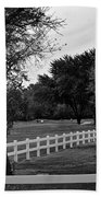 White Fence On The Wooded Green Bath Towel