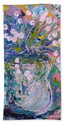 White Flower Abstract Bath Towel