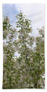 White Flowers On Branches Bath Towel