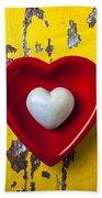 White Heart Red Heart Bath Towel
