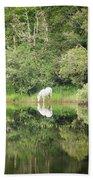 White Horse Drinking Water Bath Towel