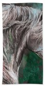 White Horse Painting Bath Towel