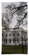 White House On A Cloudy Winter Day Bath Towel