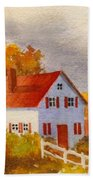 White House With Red Shutters Bath Towel