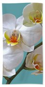 White Orchids On Ocean Blue Bath Towel