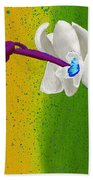 White Orchids On Yellow And Green Bath Towel