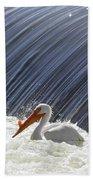 White Pelican Over The Dam Bath Towel