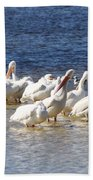 White Pelicans On Sanibel Island Bath Towel