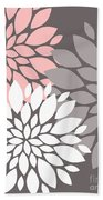 White Pink Gray Peony Flowers Bath Towel