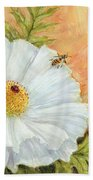 White Poppy And Bees Bath Towel