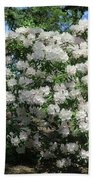 White Rhododendron Blooming In The Garden Bath Towel