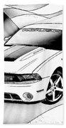White Roush Mustang Bath Towel