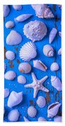 White Sea Shells On Blue Board Bath Towel
