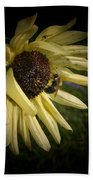 White Sunflower And Bee Bath Towel