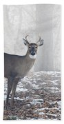 White Tailed Deer Buck In The Mist Bath Towel