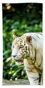 White Tiger Portriat Bath Towel