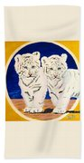 White Tiger Twins Hand Towel