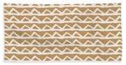 White Triangles On Burlap Hand Towel
