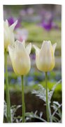 White Tulips In Parisian Garden Bath Towel