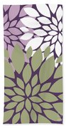 White Violet Green Peony Flowers Bath Towel