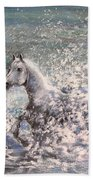 White Wild Horse Bath Towel