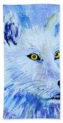 White Wolf - Aurora Nights In Blues - Square Bath Towel