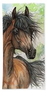 Wieza Wiatrow Polish Arabian Mare Watercolor Painting  Bath Towel
